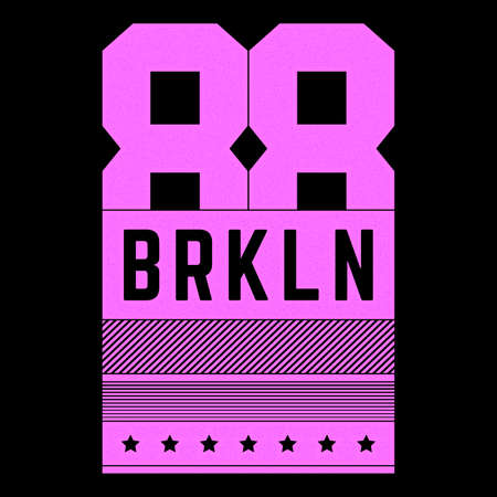 Vector retro illustration on the theme of Brooklyn. Urban. Modern. Stylized vintage grunge pink typography, t-shirt graphics, poster, print.