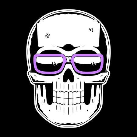 Funny skull. Modern logo. Skull with glasses.