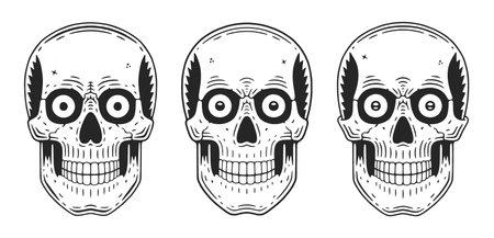 Funny skull. Modern . Retro skull dude vintage skeleton.