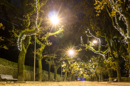 The Alameda Park at night, Santiago de Compostela, Spain Stock Photo