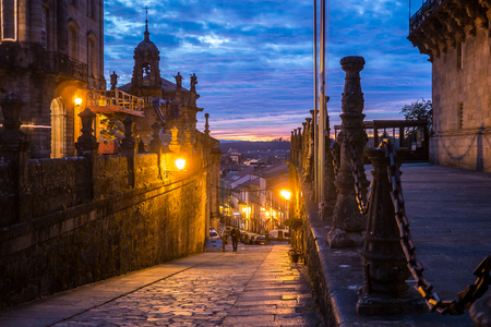 Views of the blue and red color of the Santiago de Compostela sky