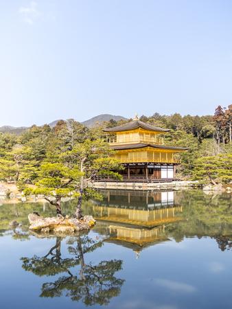The Kinkaku-ji temple reflected on the water in Kyoto, Japan Editorial
