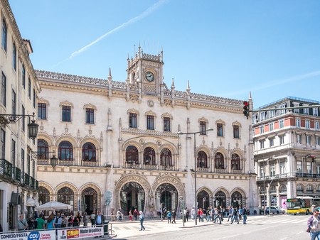 Lisbon, Portugal - April 25, 2014: The Rossio Station is a station in Lisboa, Portugal and it's located in the Rossio square. It is the main station in Lisboa. Editorial
