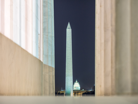 Washington monument and the Capitol seen from the Lincoln memorial