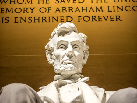 A close up view of the Lincoln statue 写真素材