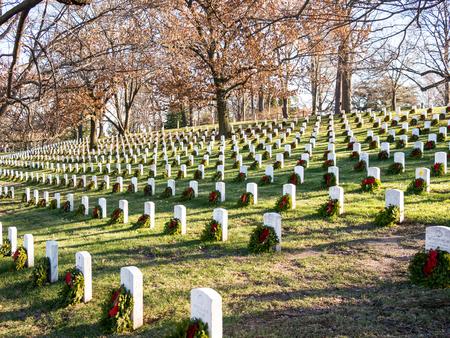 WASHINGTON DC, USA - DECEMBER 26, 2014: Gravestones on Arlington National Cemetery