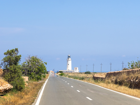 Road to La Mola lighthouse in Formentera, Spain
