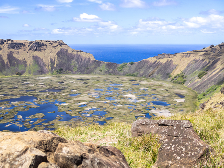 The Easter Island Ranu Kao volcano in a sunny day