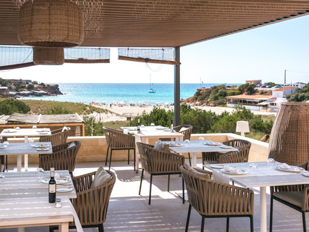 Formentera, Spain - May 26, 2015 - Views from the Cala Saona hotel terrace in Formentera, Spain