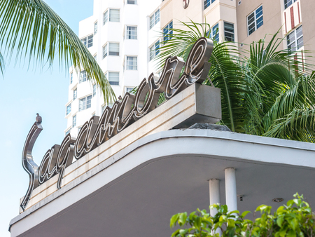 Miami Beach, USA - October 1, 2014: Side view of the Sagamore hotel, an example of the art deco design in Miami Beach.
