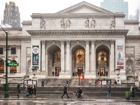 NEW YORK - JANUARY 3, 2015: The interior of the New York Public Library. With more than 50 million items, the New York Public Library is the second largest public library in the US.
