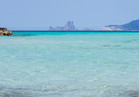 View of es Vedra and Es Vedranell islands from Formentera, Spain