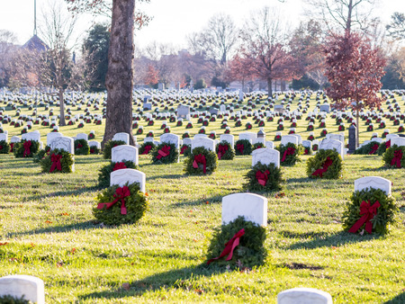 Hundreds of Soldier Tombs in Arlington Cemetery decorated for Christmas time