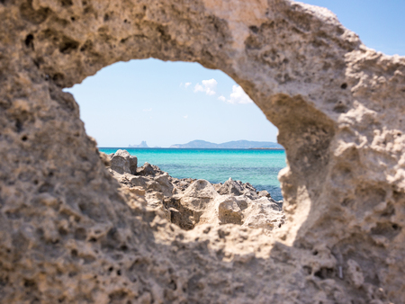 A rock with views to the Formentera sea, Spain