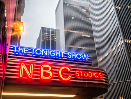NEW YORK - JANUARY 3: NBC studio in Manhattan in a rainy winter evening. Formed in 1926, NBC was the first major broadcast network in the United States.