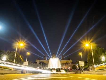 Scene of the National Palace and the Montjuich Magic Fountain at night in Barcelona, Spain Editorial