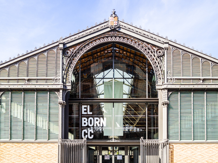 BARCELONA, SPAIN - OCTOBER 10, 2015. Facede of the famous Mercat del Born (Born Market) in the Barcelona. The former market is famous now due to the exhibition of ruins from different periods. Editorial