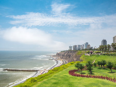 View of la Costa Verde coast along the Miraflores neighborhood in Lima, Peru
