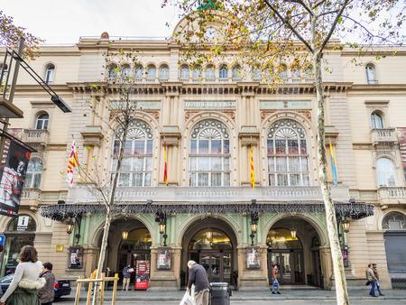 Barcelona, Spain - December 10, 2017: View of the Liceu facade in Barcelona downtown Editorial
