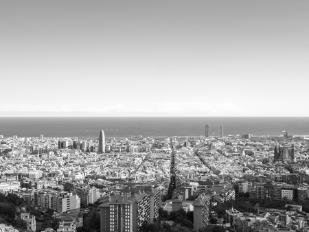 View of the city of Barcelona from the Carmel's bunkers in black and white