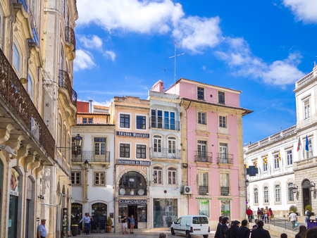Coimbra, Portugal - July 10, 2017: View of the buildings in the 8th of may square in Coimbra downtown