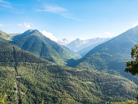 View of the Val D'Aran (Aran Valley) mountains in summer, Spain Banco de Imagens