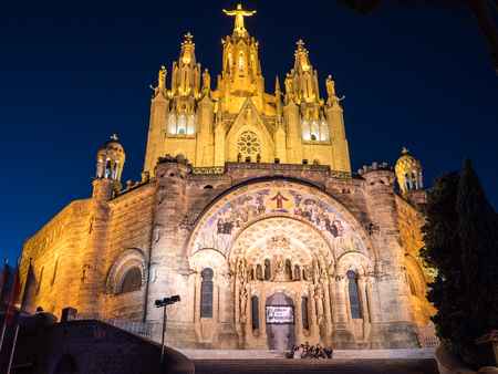 Barcelona, Spain - July 15, 2016. Facade of the Tibidabo church in Barcelona.