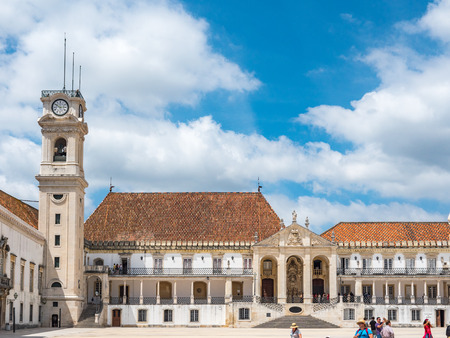 Coimbra, Portugal - July 10, 2017: View of the Via Latina steps and the faculty of Law in the University of Coimbra