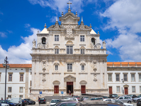 Coimbra, Portugal - July 10, 2017: View of the cars parked in front of the new Coimbra cathedral in downtown Coimbra