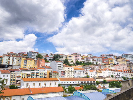 Colored buildings in the center of Coimbra, Portugal