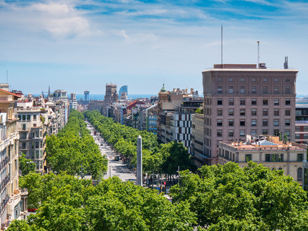 Barcelona, Spain - May 21, 2017: View of the Passeig de Gracia street, the most touristic and expensive street in Barcelona