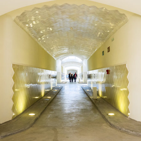 Barcelona, Spain - March 18, 2017: View of an interior aisle in the Santa Creu i Sant Pau hospital (Holy Cross and Saint Paul Hospital) complex