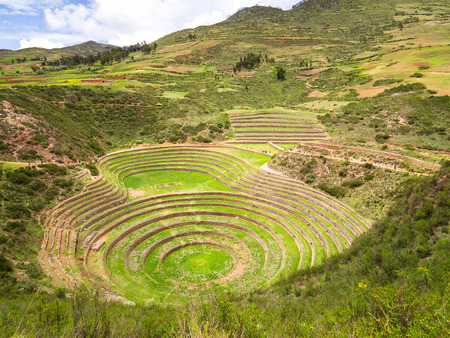 Views of the archaeological site of Moray in Peru, near Cuzco and the village of Maras Imagens