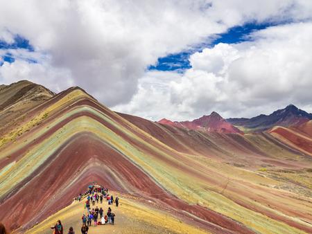 Vinicunca, Peru - January 7, 2017. Views from the peak of the Vinicunca mountain (Rainbow mountain)
