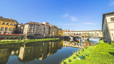 Firenze, Italy - May 27, 2017 - Views of the Firenze's Ponte Vecchio in a sunny morning