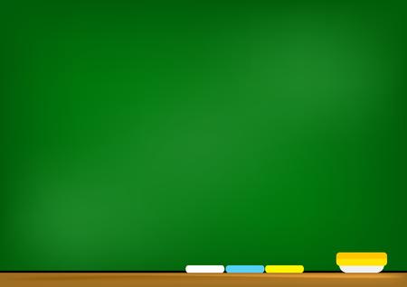 School board, blackboard illustration on green background.