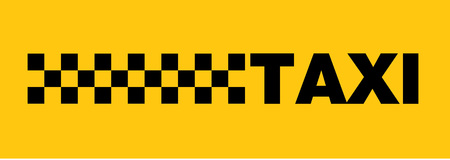 Checked taxi writing on yellow background Ilustrace