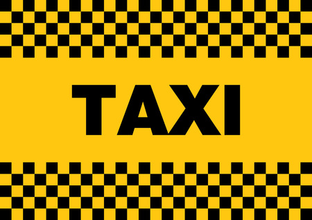 Black checked taxi sign on yellow background