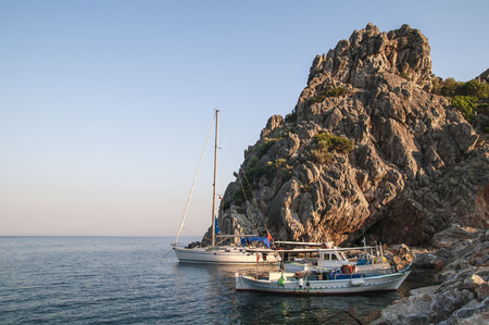 Boats anchored to the rocks