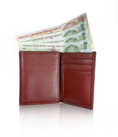 Turkish lira from leather wallet
