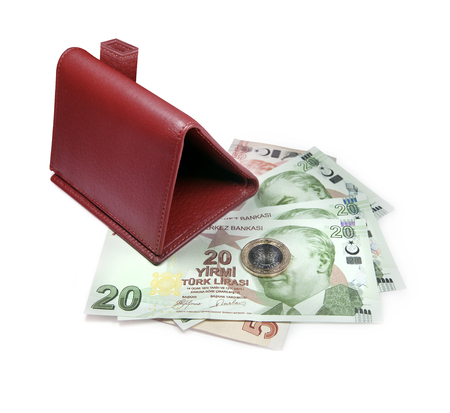 Wallet designed in the form of a house and under the Turkish lira Stock Photo
