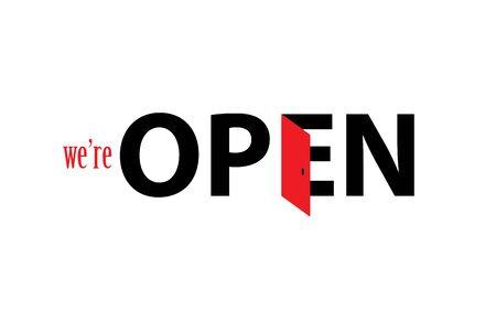 We're open logo concept design icon.  イラスト・ベクター素材