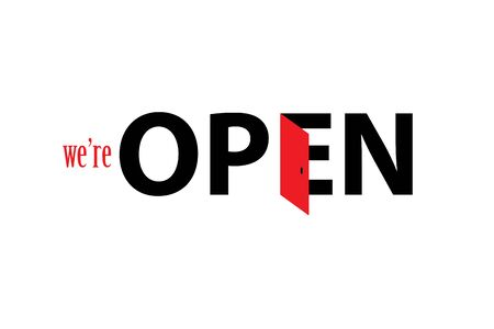 We're open logo concept design icon. Stock Illustratie