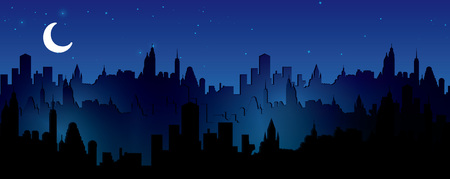 Night city vector illustration.