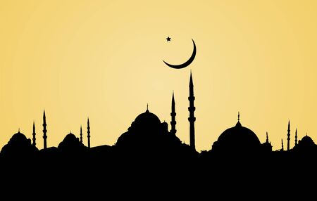 Mosque vector silhouette.