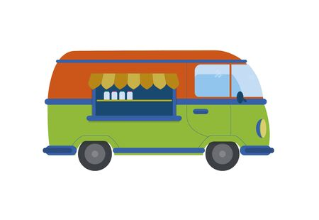 Vector, nostalgic food and drink car. Stock Illustratie