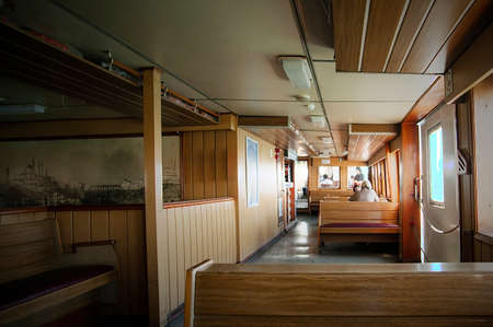 Traditional Turkish ferry boat interior view.