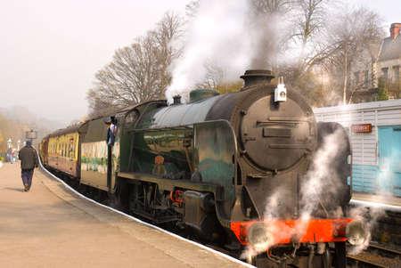 Steam train at Grosmont (North Yorkshire Moors Railway) station photo