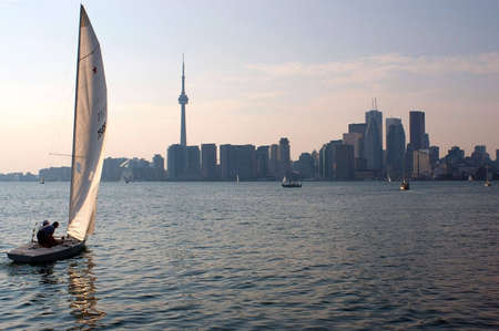 as: Toronto skyline in the evening as the sailing boats set out.