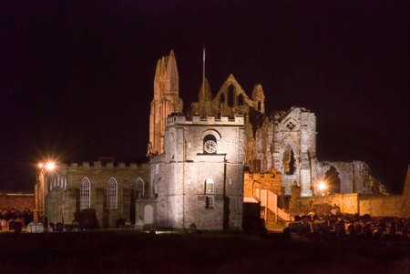 whitby: Whitby Abbey and St. Hildas church floodlit at night.